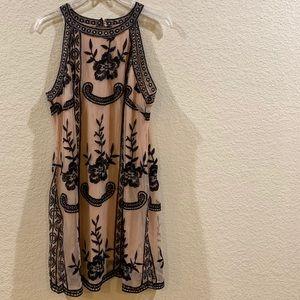 Beige/Black Lace Mini Dress
